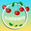 Summer banner, cherries in a circle with inscription SUMMER. Vector
