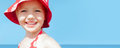Summer banner child girl happy smile sea holidays Royalty Free Stock Photo