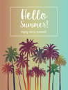 Summer  Banner for Travel with Palms. Royalty Free Stock Photo