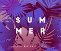 Summer banner tropical background.