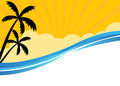Summer banner with tropical beach scene