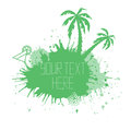 Summer banner with watercolor splashes palm trees Royalty Free Stock Photo