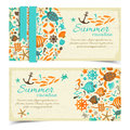 Summer banners set vector illustration eps contains transparencies Royalty Free Stock Images