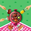 Summer barbecue picnic, vector illustration. Top view BBQ grill with steak and fish and human hands with forks and food