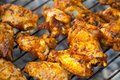 Summer barbeque - grilled chicken wings Royalty Free Stock Photo