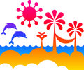 Summer on a beach - abstract vector Royalty Free Stock Photos