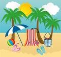 Summer beach accessories.Vector