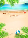 Summer beach background, seascape, sand and wave. Vector Illustration Royalty Free Stock Photo