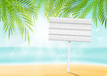 Summer beach background with signboard wooden Royalty Free Stock Image