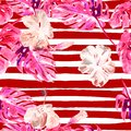 Summer Beach Background. Watercolor Seamless Pattern. Hand Painted Tropic Summer Motif with Monstera and Hibiscus Royalty Free Stock Photo
