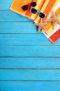 Summer beach background wood deck copy space Royalty Free Stock Photo