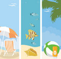 Summer beach banners illustration