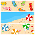 Summer beach banners set collection of three colorful with flip flops umbrellas and elements Stock Photos