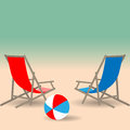 Summer beach with beach chairs