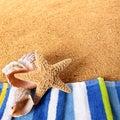 Summer beach border starfish seashore background square Royalty Free Stock Photo