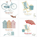 Summer beach card four design Royalty Free Stock Images
