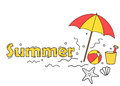Summer beach concept fun doodles banner Royalty Free Stock Photo
