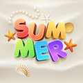 Summer on the beach d text sand design template elements are layered separately in vector file Royalty Free Stock Image