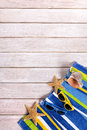 Summer beach deck background, white decking copy space, vertical Royalty Free Stock Photo