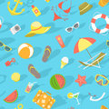 Summer beach essentials seamless pattern modern flat with various in flat style vacation traveling background web site background Royalty Free Stock Photos