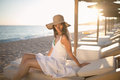 Summer beach fashion woman enjoying summer and sun.Concept of summer feeling,happiness Royalty Free Stock Photo