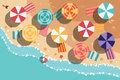 Summer beach in flat design, sea side and beach items Royalty Free Stock Photo
