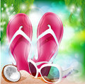 Summer beach flip flops coconut and sun glasses on the vector illustration Stock Photography
