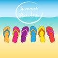 Summer beach flip flops. Paradise. Sand, sun, water.Vector background.