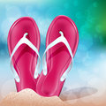 Summer beach flip flops on the vector illustration Royalty Free Stock Photo