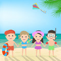 Summer beach holiday. Children on the beach. Sea landscape, vect