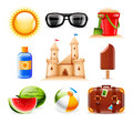 Summer and beach icons set of nine related vector Royalty Free Stock Photography