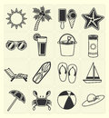 Summer beach icons set vector black color Royalty Free Stock Photo