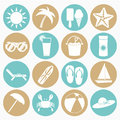Summer beach icons set Royalty Free Stock Photo