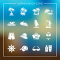 Summer beach icons. Travel, tourism and vacation icons vector