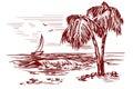 Summer beach landscape hand drawn vector illustration