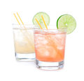Summer beach margarita cocktails in spirit glasses Royalty Free Stock Photo