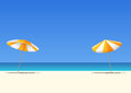 Summer beach and orange beach umbrella on blue gradient sky background  with copy space for your text. Royalty Free Stock Photo