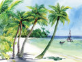 Summer beach with palm trees, seagulls and boat on shore, hand drawn, vector Royalty Free Stock Photo