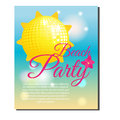 Summer beach party banner with yellow shining sun disco ball. Vector illustration. Design template for invitations, gift voucher, Royalty Free Stock Photo