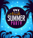 Summer Beach Party in a Circle with Palm Trees in Blue Royalty Free Stock Photo