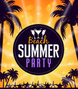 Summer Beach Party in a Circle with Palm Trees Royalty Free Stock Photo