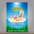 Summer beach party design template. Season vacation, weekend. Ve