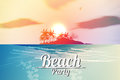 Summer beach party flyer with tropical island and sunset Royalty Free Stock Photos