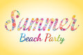 Summer beach party vector flower typography colorful Royalty Free Stock Images