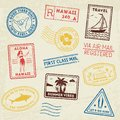 Summer beach post stamps. Hand drawn palm trees and beach elements in retro style. Summer grunge labels, badges and