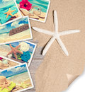 Summer beach postcards on sand with starfish and page curl Stock Image