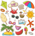 Summer beach rest icons set doodle Stock Photos