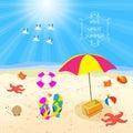 Summer beach sand design template