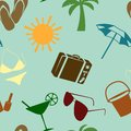 Summer and beach seamless pattern vector illustration Royalty Free Stock Image