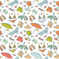 Summer beach set seamless pattern Royalty Free Stock Photos